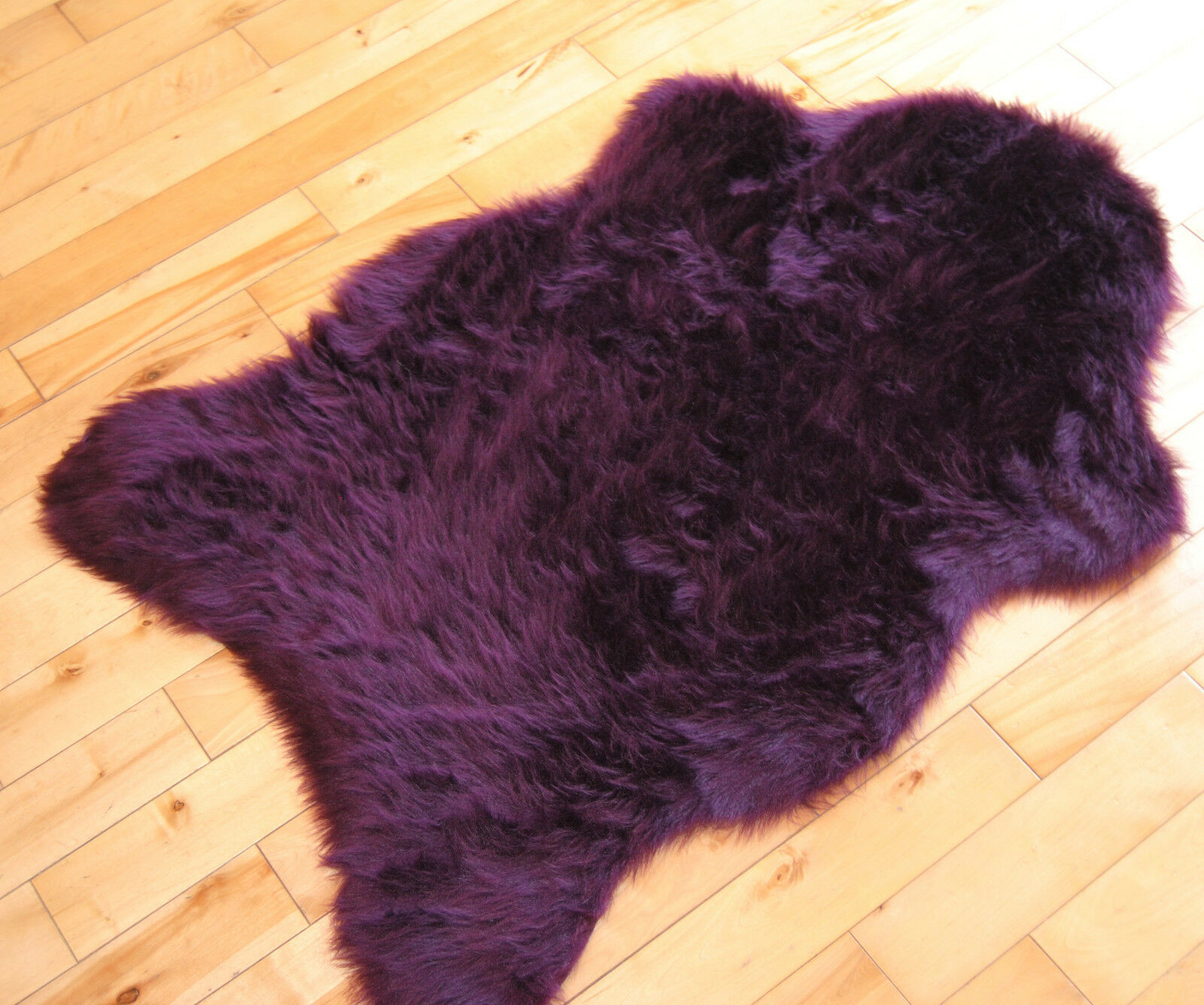 Cheap Aubergine Sheepskin Plum Fluffy Plain Rug Soft Faux