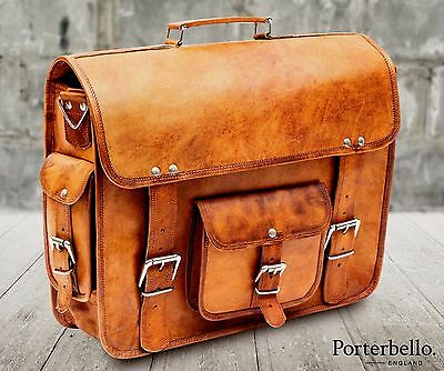 Large Tan Brown Vintage Style Handcrafted Leather Satchel Briefcase Laptop Bag