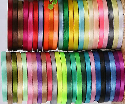 50 ROLLS OF New SATIN RIBBON, 50 Colours, 25 YARDS Each Size 6MM RRP £1.50/Roll
