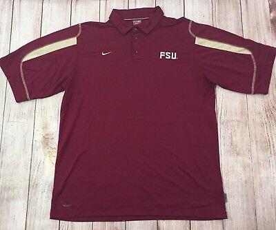 Nike Fit Dry Mens XL Coaches Sideline Polo Shirt FSU Florida State Seminoles Vtg