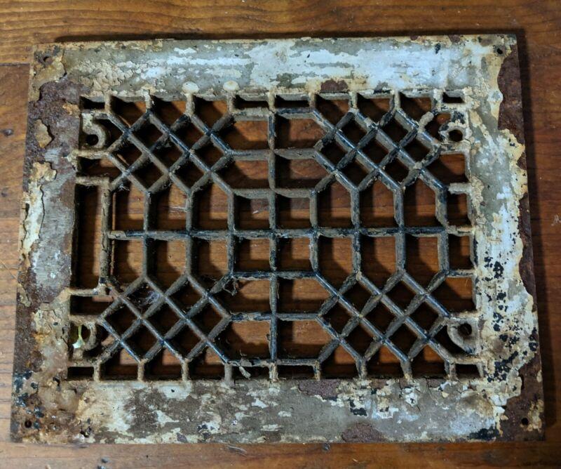 Salvage Vintage Architectural Art Deco Cast Iron Heater Grate Vent Registr Cover