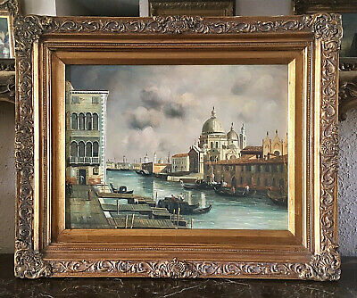 - Antique Style Oil Painting Architectural Venice Italy Canal European Art Framed