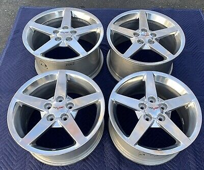 C6 Chevrolet Corvette 05-13 Original OEM 5 Spoke Polished Wheels Very Nice