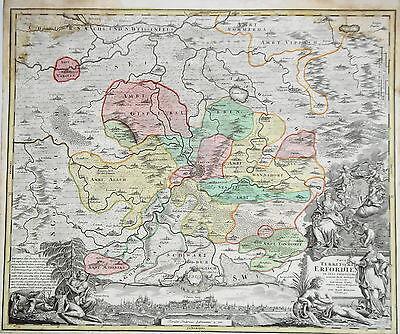 Thüringen Erfurt  Notleben  Arnstadt  Gotha  alter  Kupferstich Landkarte 1722