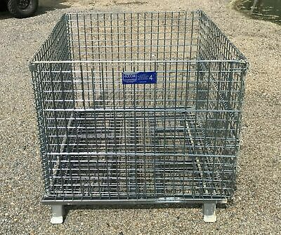 Heavy Duty Wire Basket Collapsible Stackable Front Drop Gate 48 X 40 X 36