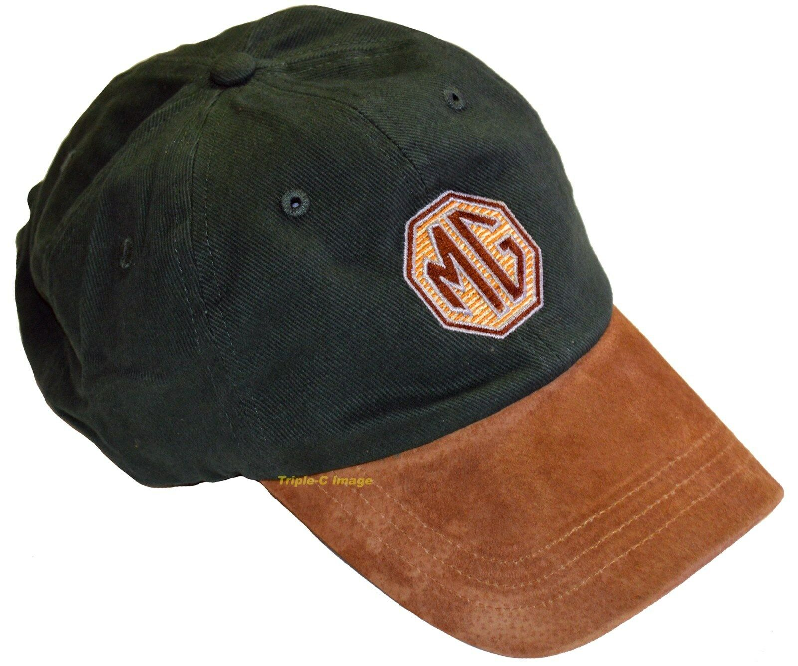 MG Green & mock suede embroidered hat - MGB etc