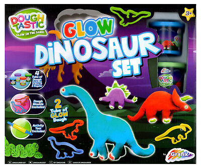 Dough Tastic Glow In The Dark Dinosaur Set Play Doh Moulds Kids Activity R030191