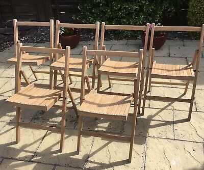 1940s Vintage Foldable Stackable Wooden Chairs Church Village Hall Picnic Garden