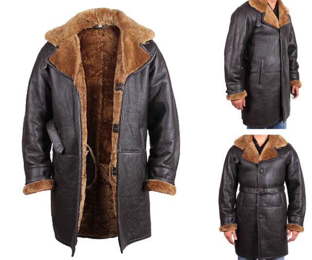 Brandslock Men&39s Warm Winter Real Shearling Sheepskin Leather