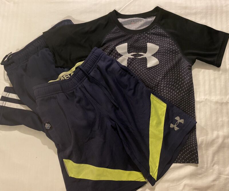 Boys size 6 Y Small- Lot Of 3- T-shirt, Shorts Pants - Under Armor & Place Sport