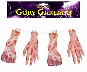 Hanging Gory Garland 108 cm Severed Hands & Feet Halloween Party Decoration Prop