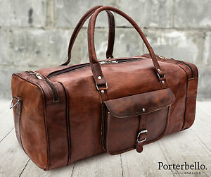 Large Brown Rugged Handcrafted Leather Holdall Duffle Gym Travel Weekend Bag