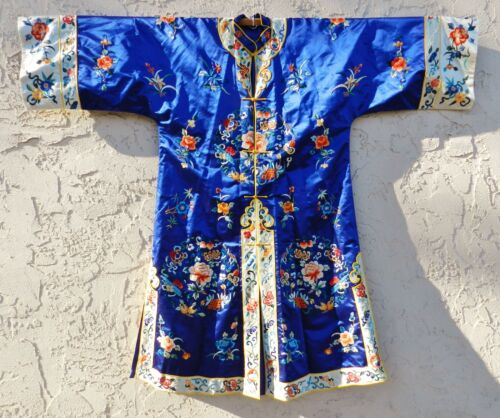Vintage Chinese Pure Silk Blue Mandarin Robe Forbidden Embroidery