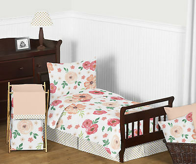 Infatuated with Jojo Shabby Chic Peach Green Watercolor Floral Girl Toddler Bedding Set