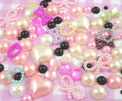 10g Mixed Colour Flatback Pearl Mix Set Decoden Embellishments Craft Supplies