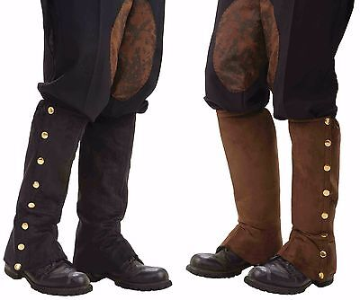 Steampunk Gold/Brass Studded Boot Covers Spats Shoe Cover Black Brown Faux Suede - Brown Boot Covers