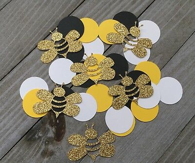 120 Bumblebee And Circle Confetti, Mommy To Be, Bee Baby Shower