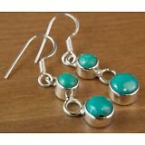 NEW 925 Sterling Silver Genuine Blue Turquoise Handmade Small Dangle Earrings