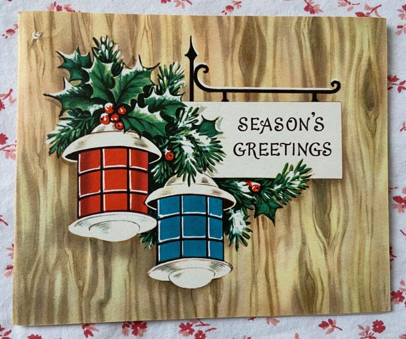 Vintage 1940s Patriotic Christmas Card Red, White & Blue Lanterns, Snow, & Holly