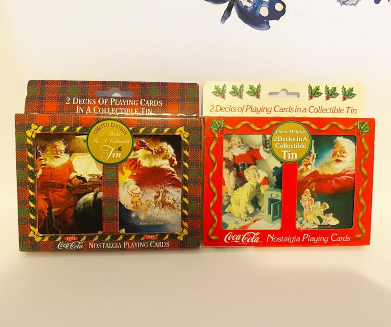 Vintage Coca Cola Christmas Playing Cards In Collectible Tin Set Of 3 1996 1997