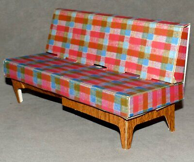 Barbie 1960s Cardboard Furniture Dream House Cardboard Couch Plaid USA SELLER