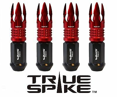 20PC VMS RACING 89MM 12X1.5 FORGED STEEL LUG NUTS W/ RED POSEIDON SPIKE TIPS C