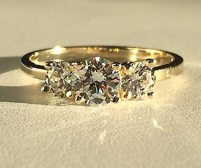 Solid 14K Yellow Gold 3 Stone Round Cut Cubic Zirconia Engagement Ring - 5mm CZ