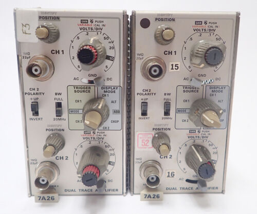 TEKTRONIX 7A26 DUAL TRACE PLUG IN 200MHz for 7000 SERIES SCOPES, LOT OF 2, AS-IS
