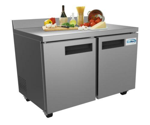 """Stainless Steel 48"""" Two Door Commercial Worktop Freezer Cooler 12 cu. ft."""