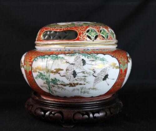 Antique 19th Century Nippon Japan Porcelain Yokohama Lidded Censer Birds Flowers
