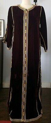 Vintage wine/ gold heavy velvet Moroccan Caftan Kaftan Abaya maxi Dress M/L
