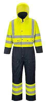 Class 3 Hi-vis Contrast Quilt Lined Coverall Suit Class 3 Yellownavy S-6xl S485