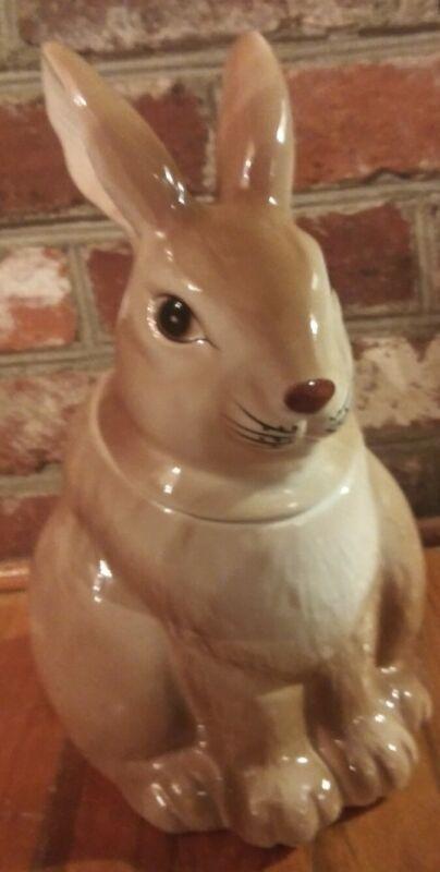 NWT Vintage English Rabbit Ceramic Cookie Jar Brown Taiwan NOS Albert Kessler