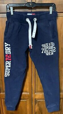 Superdry Men Small S Sweatpants Jogger Thick Fleece Sweat Pants Blue