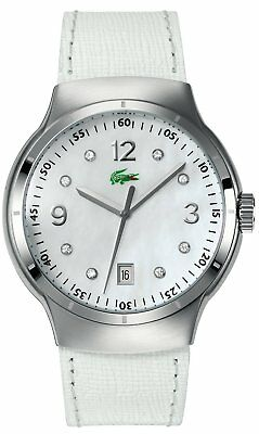 New Authentic LACOSTE Watch Ladies White Leather TIE BREAK with Diamonds for sale  Shipping to India