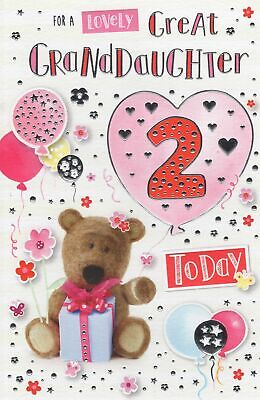 GREAT GRANDDAUGHTER 2nd BIRTHDAY CARD AGE 2 ~ CUTE DESIGN QUALITY CARD & VERSE
