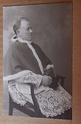 Postcard Catholic Priest Real photo Portrait Bishop Auckland Studio unposted