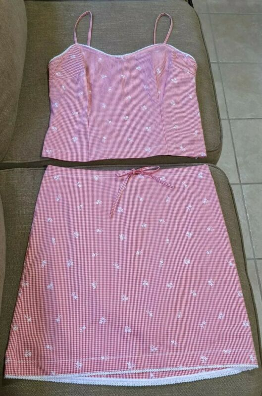 Ann Taylor Loft Stretch Vintage 90s Red Gingham Plaid Tank Top Skirt Size 10P