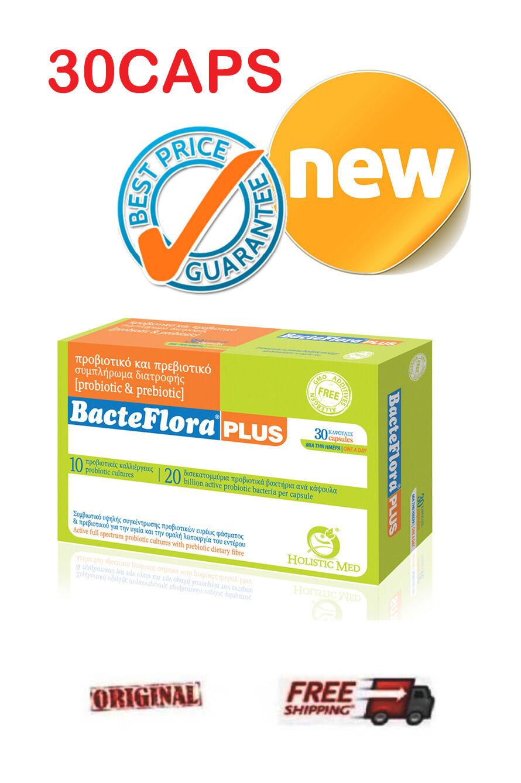 Holistic Med BacteFlora Plus *PREBIOTICS FOS + PROBIOTICS 20 BILLION CFU*  30CAPS