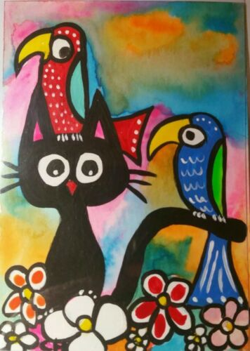 ACEO CAT THIS IS PARADISE Acrylic 2000-now  - $5.00