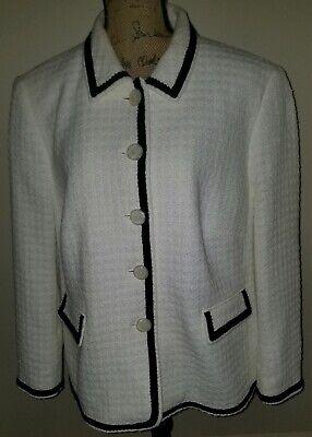 Horst Basler Womens Classic Tailored Blazer Jacket 48 US Size 22 Ivory Black Classic Tailored Blazer