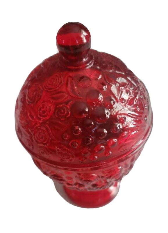 "AVON RUBY RED COVERED CANDLE HOLDER SCENTED 6 1/2"" EGG SHAPE ROSES VINTAGE"