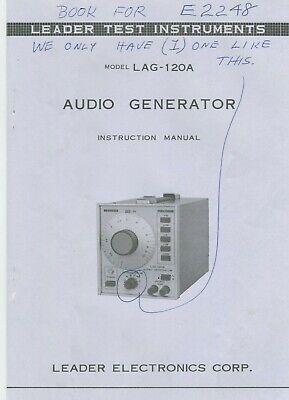 Leader Electronics Corp. Lag-120a Audio Generator Instruction Manual