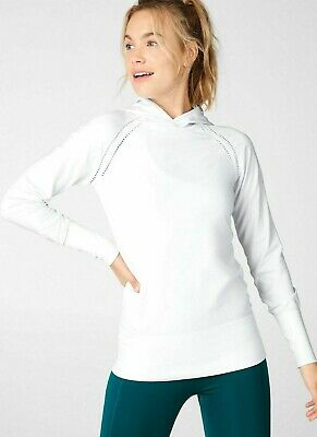 NWT - FABLETICS Women's 'ANNA' White L/S SEAMLESS HOODED TOP SHIRT - L