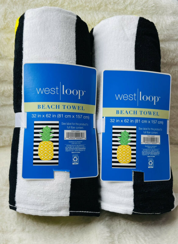 2- New Westloop Beach Black &  White And pineapple Towels 32 X 62 Brand