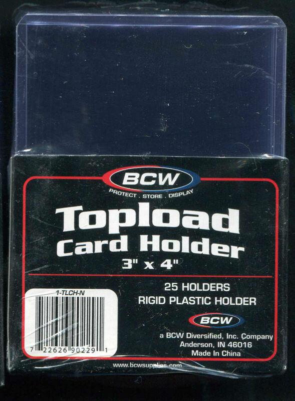 25 BCW 3 x 4 Rigid Top Loader Protectors