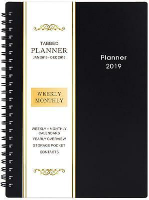 2019 Planner Academic Weekly Monthly Flexible Cover 12 Monthly Tabs Twin-wire