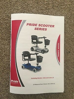 Pride Libre Libre LX Mobility Scooter Owner's Manual Instructions Guide