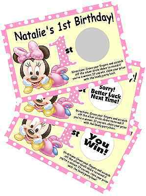 BABY MINNIE MOUSE SCRATCH OFF OFFS PARTY GAME GAMES CARDS 1st BIRTHDAY FAVORS - 1st Birthday Games