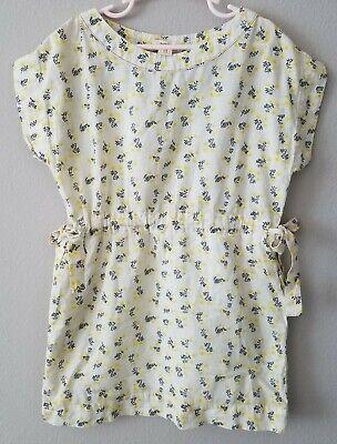 Bellerose Girls Kids Yellow Floral Tunic Top Dress Size 8 Size Tie gather waist